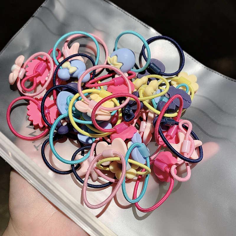 20 Cái/bộ Bé Gái Hoạt Hình Dễ Thương Nhiều Màu Sắc Nơ Hoa Thỏ Thun Tóc Trẻ Em Đáng Yêu Cao Su Scrunchie Phụ Kiện Tóc