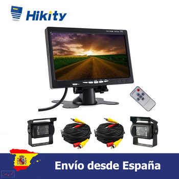 Hikity 7 Cámara LCD de respaldo de Monitor dual de vista trasera para camión autobús RV 18 IR LED de visión nocturna