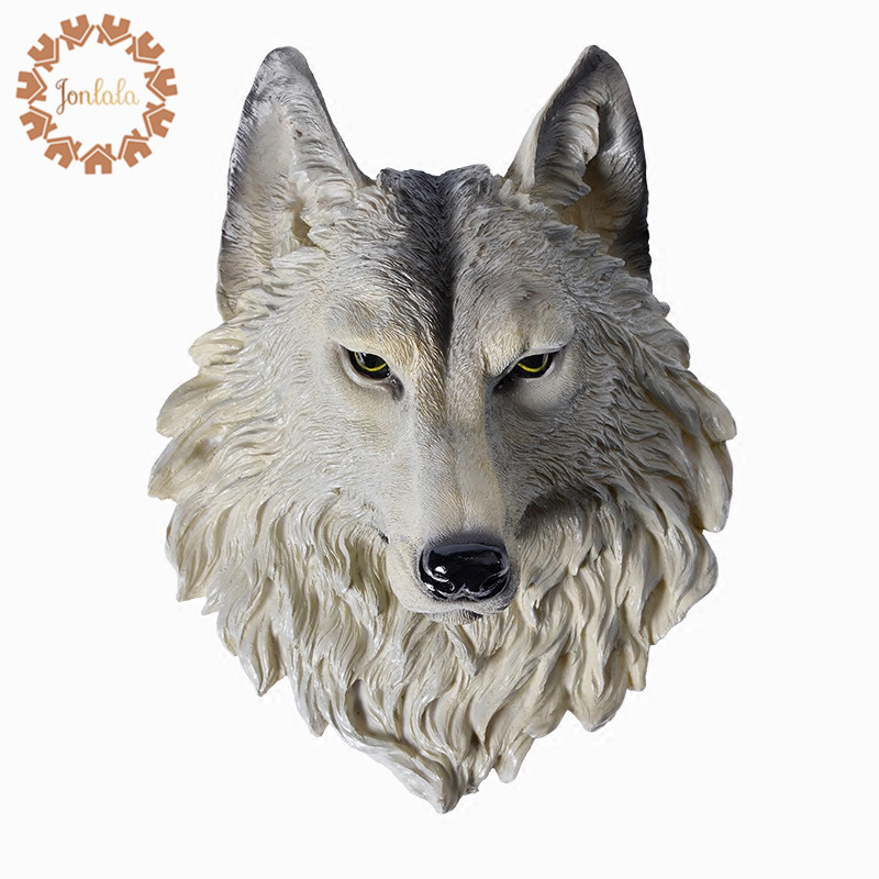 Large Size Wolf Head Wall decoration Hanging Wall Animal Head Resin Pendant Resin Wall Ornaments Home Accessories, Best Gift