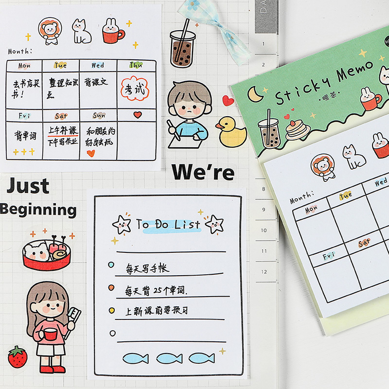 30 Sheets Kawaii Girls Sticky Note Cute Cartoon Memo Pad Weekly Plan To Do List Stationery Office School Supplies Kids Gifts