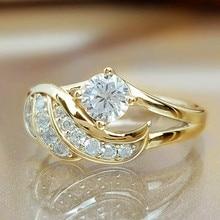 Изысканный 18к золота белый сапфир ангел крылья шарм бриллиант принцесса кольцо романтика невеста вечность кольцо годовщина рождество подарок