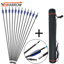 12pcs 32inch 700 Spine Mix Carbon Fiberglass Arrow With Adjustable Quiver For Outdoor Bow Hunting Shooting Archery Accessories