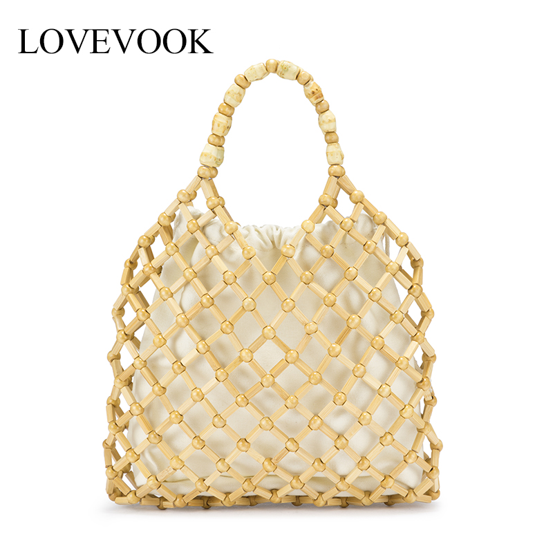Lovevook Bamboo Bags Female Beach Bags Summer Straw Bags For Travel Luxury Handbags Women Bags Designer With Pocket Bohemia