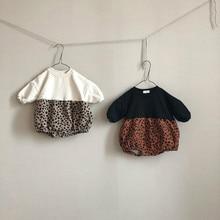 Зимний плюшевый леопардовый комбинезон с длинными рукавами для новорожденных; комбинезон для маленьких девочек