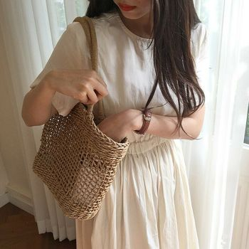 Women Straw Shopping Basket Beach Tote Summer Shoulder Bag Handbag 5