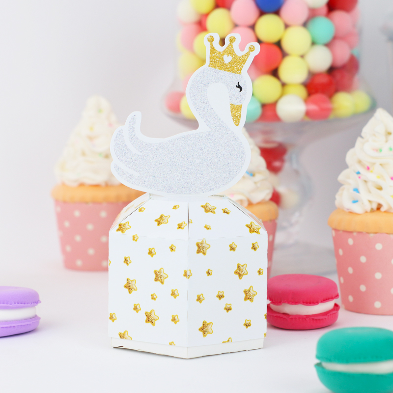 Swan Candy Box Birthday Glitter Topper Swan Party Decoration Birthday Swan Glitter Paper Cake Topper Birthday Decorations Part