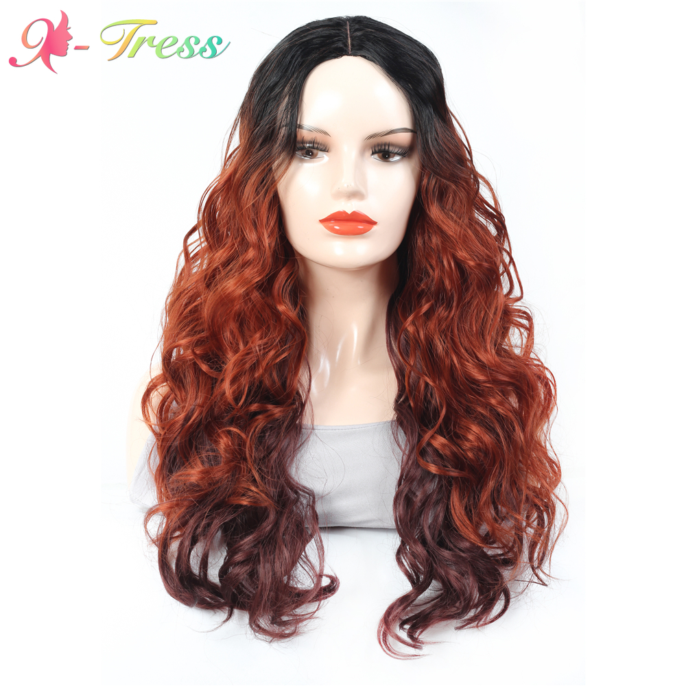 Trendy U-part Lace Synthetic Wigs for Black Women High Temperature Fiber Hair X-TRESS 28 Inch Ombre Dark Roots to Red Curly Wave
