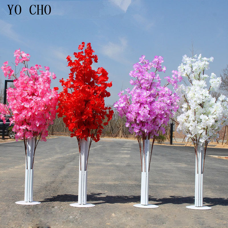 Fake Cherry Blossom Flowers Branch Silk Artificial Sakura Tree Stem For Event Wedding Road Lead Backdrop Stage Decor Faux Flores