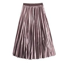 Gold velvet long Pleated skirt women's fashion fall winter 2019 new female
