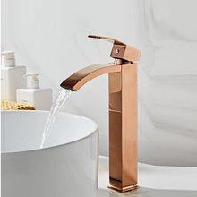 Torneira da bacia de bronze torneira do banheiro único punho torneiras para pia do banheiro rosa ouro pia lavagem cachoeira torneira