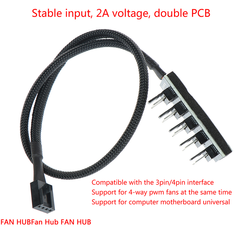 1 Female To 5 Male 4Pin Socket Fan Hub Splitter Cable PC Cooler Fan Power Cable For 3Pin&4Pin PWM Cooling Fan