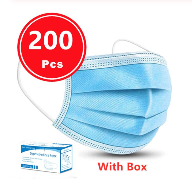 200pcs Fast 1day Disposable Mask Antivirus Mouth Masks 3 Layer Anti-Dust Face Mask Prevent Virus Safe 마스크 Masque Protective Mask