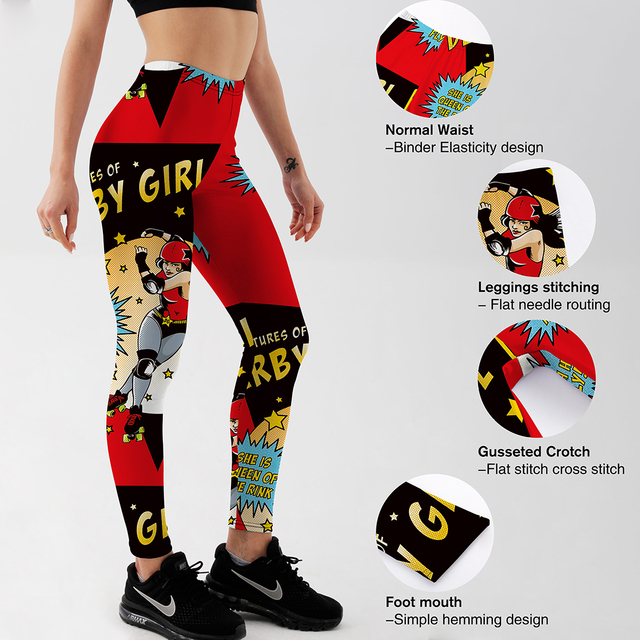Qickitout Fitness Leggings Women Workout Push Up Legging Digital Print Anime Character Skating Girl Jeggings Pants 4