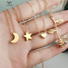 LOVR Simple Star & Moon Pendant Necklace For Women New flower Heart Statement Necklaces Collier Fashion Jewelry(China)