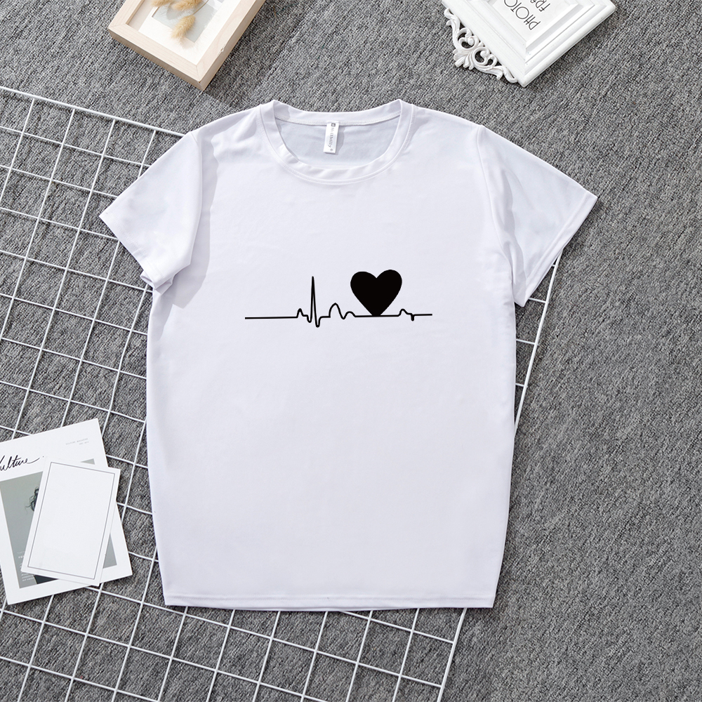 LOOZYKIT round neck simple Short Sleeve Loose Women Tee Shirt Tops Black&White T-shirt summer love cartoon print T-shirt