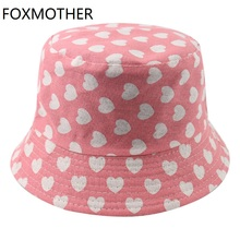 Bucket-Hats Fishing-Hats Pink Women Reversible New Print for Sun-Cap Love-Heart-Print