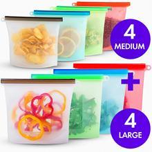 Reusable Silicone Food Storage Bag 1000ml 1500ml Airtight Seal Ziplock Bags Container Freezer Fresh