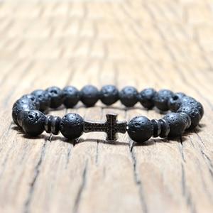 Image 5 - Noter Natuurlijke Vulkanische Lava Armband Femme Homme Zwart 3 Stijlen Cross Braslet Yoga Gebed Sieraden Hematiet Armband Bileklik