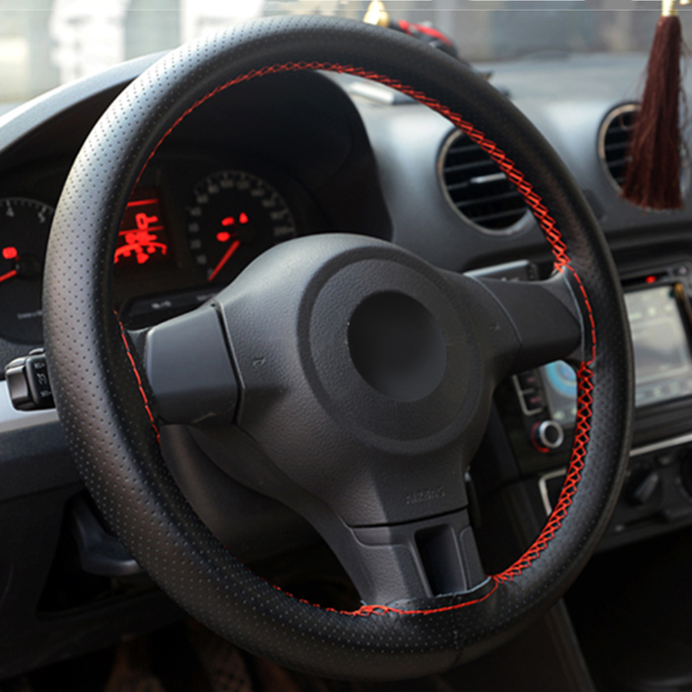 Оплетка на руль 38 см, Кожаная оплетка для Volkswagen VW polo passat b5 b6 CC golf jetta mk5 mk6 tiguan Gol Touran 1,4 Fox 1,2