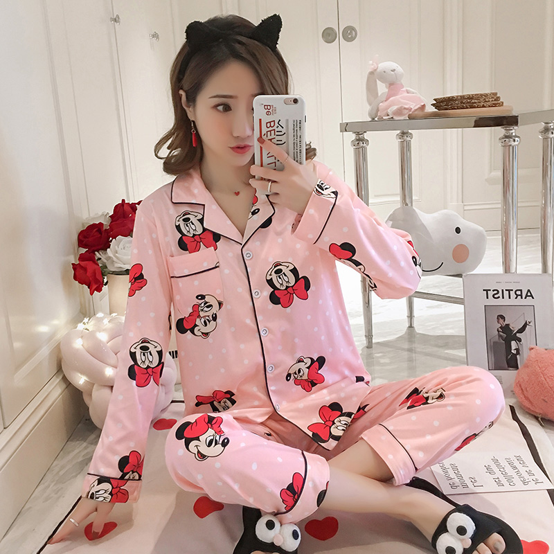 Cartoon Print Premium Pajama Sets For Women Spring Autumn Long Sleeve And Pants Loose Comfortable Sleepwear Nice Home Suits