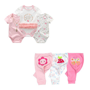 Image 2 - cute Bodysuits+Pants Baby Boy Girl Clothing Sets 0 12M Baby Boy Girl Clothes Unisex Newborn Baby Cotton Roupa de bebe
