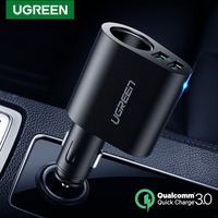 Ugreen caricatore per auto USB ricarica rapida 3.0 90W caricabatterie per telefono per auto a ricarica rapida per iPhone Xiaomi caricatore doppio USB sigaretta per auto