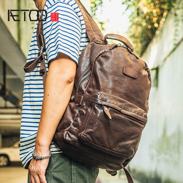 AETOO Cowhide mens doubles shoulder bag retro trendy head layer leather backpack