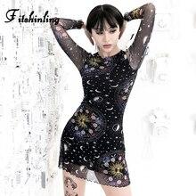 Fitshinling Harajuku Print Mesh Dress Autumn Sexy Hollow Out Short Dresses For Women Long Sleeve Black Goth Dark Grunge Vestidos
