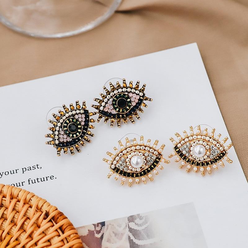 Vintage Turkish Big Eyes Stud Earrings Sparkling Pearl Rhinestone Crystal Zircon Korean Fashion Exaggerated Jewelry For Women