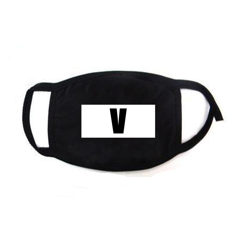 Hip Hop Mouth Face Mask Dustproof  Kpop V Suga Jimin Name Logo Custom Bangtan Boys For Women Men Unisex Black Masks