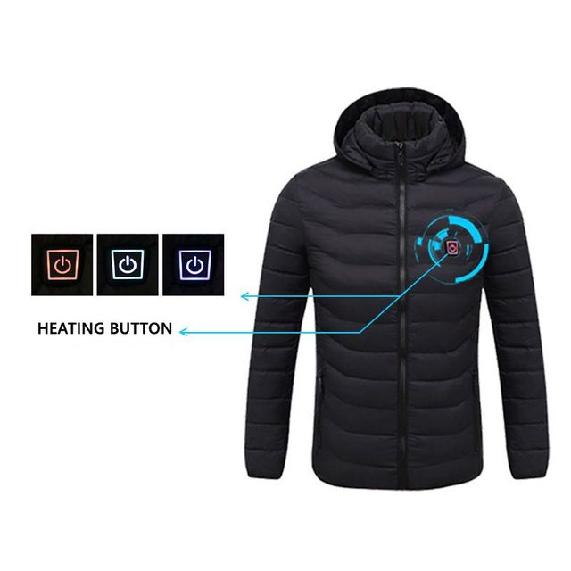 2020 NWE Men Winter Warm USB Heating Jackets Smart Thermostat Pure Color Hooded Heated Clothing Waterproof Warm Jackets 2