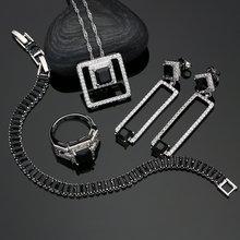 Женский комплект свадебных украшений из серебра 925 пробы серьги/Подвеска/Кольцо/браслет/ожерелье