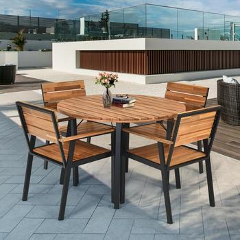 5 Pcs Patio Dining Chair Set with Umbrella Hole Weather Resistance & Umbrella Hole Design Patio Dining Set  Natural Design 1