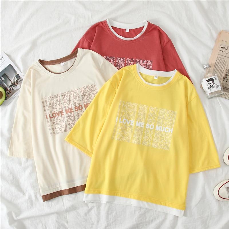 Ins/Новинка лета, хит продаж, короткие женские футболки, harajuku, с буквенным принтом, корейский стиль, топы с вышивкой, хлопок, Kawaii, уличная одежда для женщин, FD4137 Футболки      АлиЭкспресс