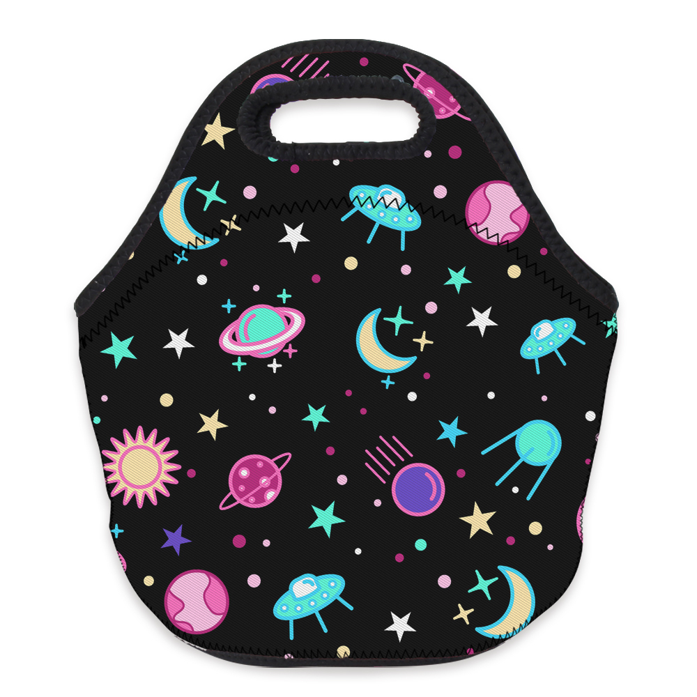 Deanfun 3D Printed Black Space Lunch Bag Neoprene Tote Bag With Zipper Cute Lunch Bag For Kids, Women, Girls 73140