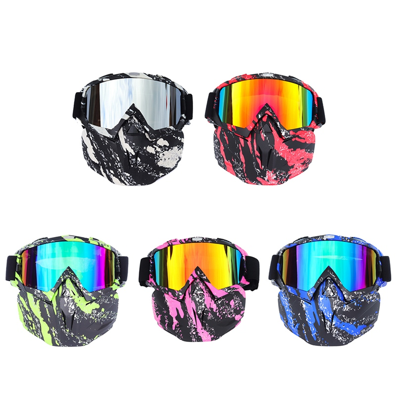Cycling Goggles Face Mask Detachable Protective Eyewear Outdoor Sports Motorcycle Riding Skiing Glassess