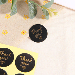 120pcs/pack Hot Sale Round Sticker With Black Background Packing Sticker Adhesive Gift Kids Stationery Love Thank You Sticker