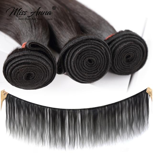 Missanna 30 32 34 36 38 40 Cal prosto brazylijskie doczepy do włosów wyplata wiązki 1/3/4 sztuk grube naturalne Remy doczepy z ludzkich włosów