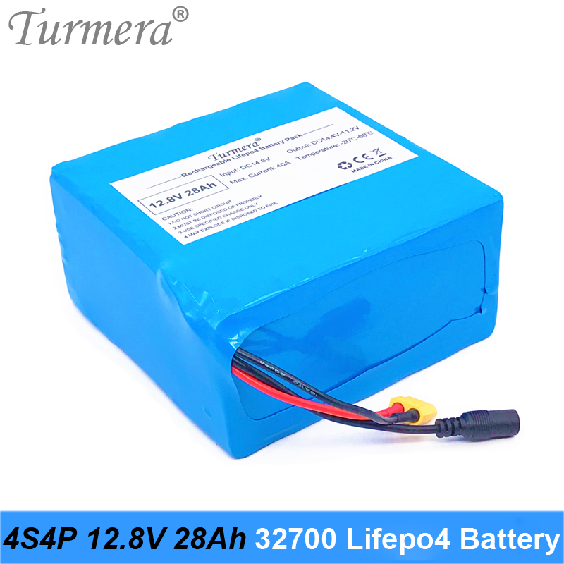 Turmera 12.8V 28Ah 4S4P <font><b>32700</b></font> Lifepo4 <font><b>Battery</b></font> with 4S 40A BMS Balanced for Electric Boat and Car Uninterrupted Power Supply 12V image