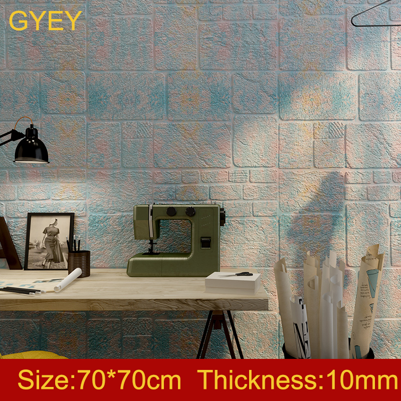 3D Wall Stickers Thick Sandstone Self-adhesive Wallpaper Brick Pattern Collision Living Room Wall Stickers Bedroom Net Red Room