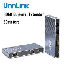 Unnlink 60 מטרים HDMI Extender FHD 1080P @ 60Hz CAT5E/6 רשת כבל LAN RJ45 Ethernet הארכת עבור טלוויזיה מקרן צג תיבה