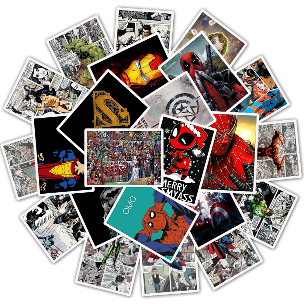 25Pcs Man Wei movie Cartoon Anime Spider Man Sticker Lot For Laptop Bicycle Phone Guitar Marvel Stickers Pack