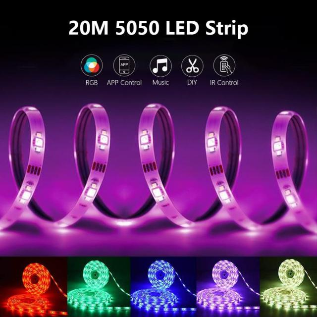 LED Strip Light RGB 5050 Lights  Music Sync Color Changing Built-in Mic, App Controlled LED Lights Rope Lights 5M 10M 20M 2