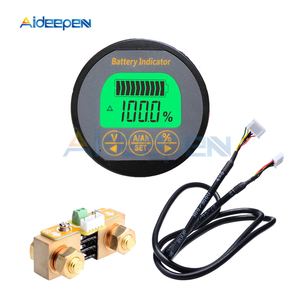 <font><b>DC</b></font> 8-80V 50A <font><b>100A</b></font> 350A TR16 Coulomb Counter Meter Battery Capacity Indicator Ammeter Voltmeter Battery Tester for Li-ion Lipo image