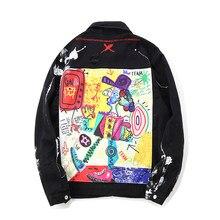 Con Chaqueta vaquera estampado de grafiti para hombre, ropa de calle masculina, con agujeros, estilo Moderno, Hip Hop, informal,