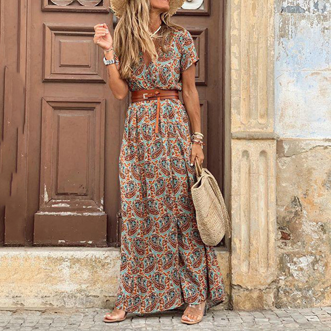 2020 Summer Beach Maxi Dress Women Floral Print Boho Long Dress Casual V-Neck Split Sexy Party Dress Robe Femme