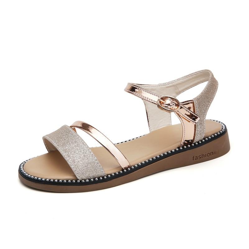 2019 Summer women sandals black gold flat Sandals women
