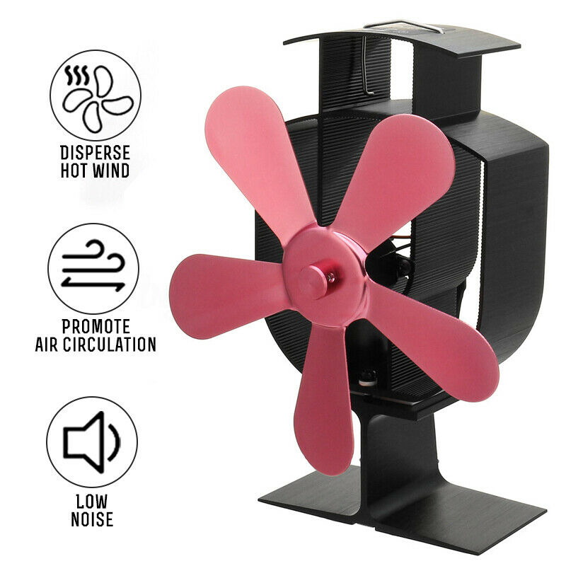 1pc 5 Blades Heater Stove Fan Heat Self-Powered Wood Stove Fan 180-210 CFM 1100-1600RPM Tool Replcements