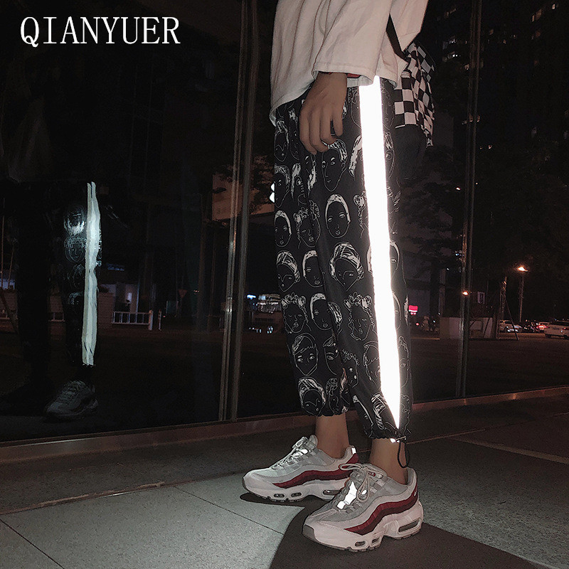3M Reflective Pants Women Hip Hop Joggers Women Pants Female Printing Pants Gothic Plus Size Streetwear Pantalones Mujer