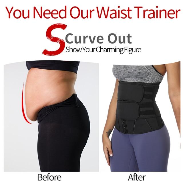 Women Slimming Sheath Waist Trainer Tummy Reducing Shapewear Belly Body Shapers Sweat Strips Sauna Corset Workout Trimmer Belts 2